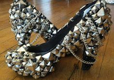 Cant Hold Us Down Custom Studded Pyramid Chain Bling Rocker Shoes Heels. $300.00, via Etsy.