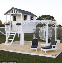 Creative mum turns cubby house from Bunnings into Hamptons h.-Creative mum turns cubby house from Bunnings into Hamptons haven - Backyard Playhouse, Backyard Playground, Backyard For Kids, Backyard Patio, Kids Outdoor Playhouses, Kids Playset Outdoor, Kids Outdoor Spaces, Playhouse With Slide, Playhouse Decor