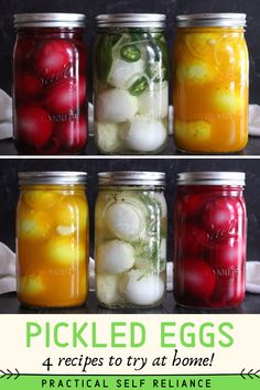 Pickled eggs are a real treat and the perfect tangy salty snack. Just pour a flavorful brine over hard-boiled eggs and stick them in the fridge, no canning required. Home Canning Recipes, Canning Tips, Cooking Recipes, Canning Food Preservation, Preserving Food, Canning Pickles, Fermentation Recipes, Salty Snacks, Salty Foods