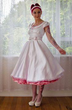 Paige Wedding Dress by Pixie Pocket Bow Belt, Full Circle Skirts, People Dress, Traditional Wedding, Pin Up Girls, Custom Made, Wedding Stuff, Wedding Ideas, Scoop Neck