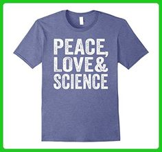 Mens Peace Love Science Shirts 3XL Heather Blue - Math science and geek shirts (*Amazon Partner-Link)
