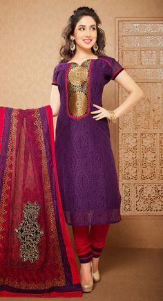 Buxom Deep Purple Chanderi Cotton Silk Casual #Salwar Suit