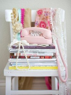 A bevy of fabulous decor inspiration awaits the lucky reader of these stylish books. #books #girly #pink #phone #shabby #chic #home #decor #style