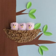 Paper Plate Nest of Birds. Make this a Halloween decoration by turning the pink birdies into owls.