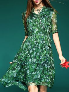 Green Vintage Silk Floral Printed/Dyed Midi Dress