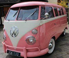 My kind of car. Pink and white VW bus Volkswagen Transporter, Vw T1, Volkswagen Jetta, Volkswagen Vehicles, Wolkswagen Van, Van Vw, Ford Gt, Audi Tt Mk1, Combi Ww