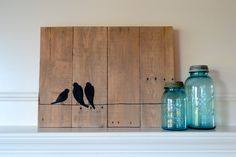 Items similar to Reclaimed wood art sign: Three bird family on wire silhouette on Etsy Pallet Deck Furniture, White Wood Furniture, Wood Furniture Living Room, Distressed Wood Signs, Reclaimed Wood Art, Rustic Wood Floors, Barn Wood, Group Art Projects, Wood Projects