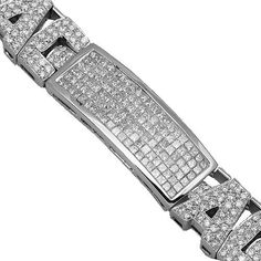 14K White Gold Mens Diamond Bracelet 15.64 Ctw | Your #1 Source for Jewelry and Accessories