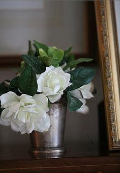 Gardenias and tarnished silver