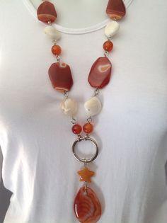 Chunky gemstone pendant necklace with carnelian beads, mother of pearl, carnelian stars, large red sardonyx focal beads, orange agate pendant - Michela Rae
