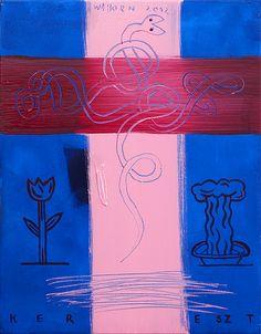 """Kereszt-Cross  2012, Acryl on canvas, akryl vászon, 50x40cm, 19,68""""x15,74"""""""