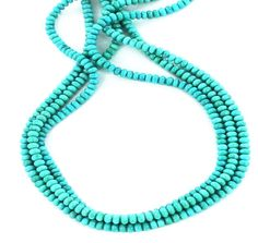 MEXICAN TURQUOISE 5mm RONDELLE BEADS GLASSY BLUE