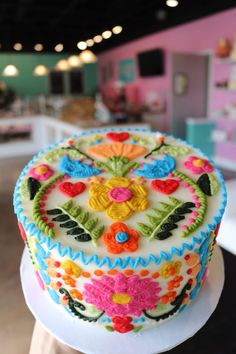 Bright colorful fiesta embroidery cake by 3 sweet girls cakery! little hunnys cakery on pretty buttercream baby shower cake small letter mold and baby mold from christinesmolds Birthday Cake For Women Elegant, Pretty Birthday Cakes, Birthday Cakes For Women, Pretty Cakes, Cute Cakes, Beautiful Cakes, Amazing Cakes, Birthday Ideas For Women, Bright Birthday Cakes