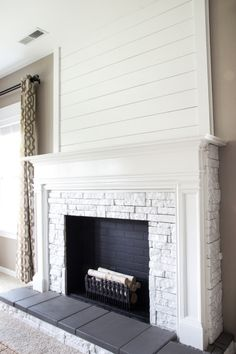 Summer home tour 2016 faux fireplace wood planks and plank diy faux fireplace updated solutioingenieria Gallery
