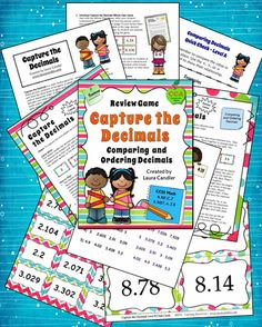 New! Capture the Decimals Game (CCSS) is an engaging math review game for comparing and ordering decimals. There are two variations of the game, a whole class version and a partner version, and there are three levels of game cards available. $