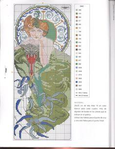 0 point de croix femme en vert art nouveau - cross stitch lady in green