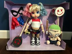 Harley Quinn Repaint (of Disney Animator Doll of Cinderella ) OOAK Custom Painted and Hand Sewn Clothing. Collectible Doll Comes with fun accessories! Organized and packaged perfect for a Harley Quinn Fanatic! One of a kind!! Made by an Artist. Includes: Doll, hand sewn outfit, custom