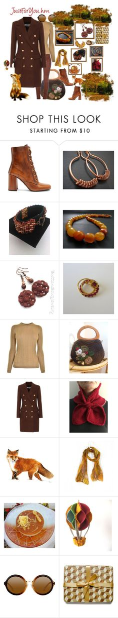 """""""In the woods with etsy"""" by justforyouhm ❤ liked on Polyvore featuring Prada, MICHAEL Michael Kors, Balmain and Hostess"""