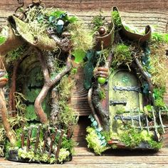Curled Mossy Awning Fairy Door LIMITED NUMBER LEFT by CindiBee