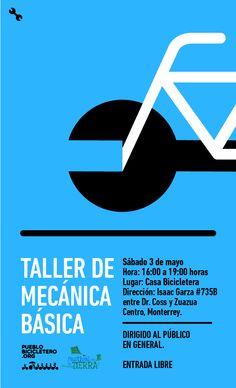 """El """"Taller de mecánica básica para bicicletas"""" contempla el conocimiento inicial de una bicicleta, las partes que la integran, y la herramienta básica requerida para su reparación, así como para su mantenimiento preventivo.  Día: 3 de mayo de 2014 Horario: 4:00 pm a 7:00 pm Lugar: Casa Bicicletera. Para más información y pre-registro visita: www.pueblobicicletero.org/2014/04/taller-mecanicabasica-parabicis"""