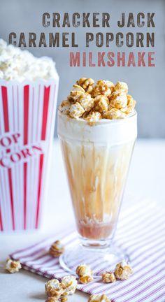 Cracker Jack Caramel Popcorn Milkshake Recipe #crackerjack #caramel #popcorn #milkshake #recipe #summer #dessert