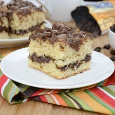 Coffee Lover's Chocolate Chip Cake...a moist sour cream cake exploding with chocolate chips and coffee flavor.