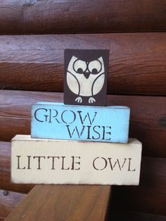 Very cute! i could do something similar but with a different font and owl image. OWL nursery blocks //Etsy, $25.00
