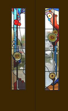 Need wood surround but love this stained glass design for the own stained glass design double doors in a chalet in france planetlyrics Gallery