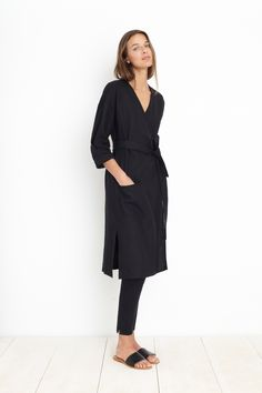 AMORGOS WRAP DRESS - BLACK | Apiece Apart