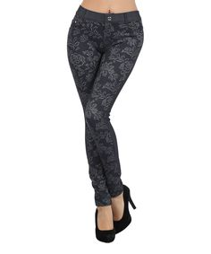 Look at this #zulilyfind! IconoFlash Black Floral Jacquard Jeggings by IconoFlash #zulilyfinds