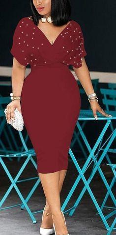c1c0486b1df Wine Red Pearl Studded Cap-Sleeve Bodycon Dress