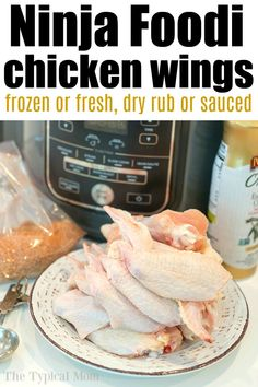 4 Ninja Foodi chicken wings recipes using frozen wings or fresh! How to get tender meat with crispy skins on the outsides without ever using your oven! Air Fryer Recipes Chicken Wings, Dry Rub Chicken Wings, Frozen Chicken Wings, Air Fryer Recipes Easy, Fresh Chicken, Chicken Wing Recipes, Perfect Pork Chops, Healthy Fried Chicken, Air Fryer Wings