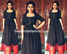 Nakshatra Nagesh in Krithika Kannan – South India Fashion Saree Gown, Sari Dress, Anarkali Dress, Black Anarkali, Simple Anarkali, Frock Dress, Dior Dress, Anarkali Suits, Sari Blouse Designs