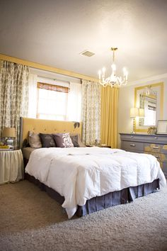 kara paslay designs, 'Til Design Do Us Part, glamorous gray and yellow bedroom