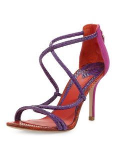 Love, Love, Love!!!!  Estefania Tricolor Snake Sandal by B Brian Atwood at Bergdorf Goodman.