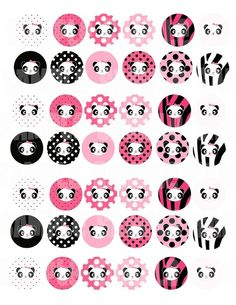 Pink Panda Digital Collage Sheet 1 inch Circles for Bottle cap pendants and Pebble magnets