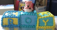 Baby Boy Shower Cake with Chocolate Pig Cake Topper