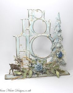 HoHoHo stand up tree blue Christmas Craft Show, Christmas Makes, Christmas Signs, Christmas Projects, Christmas Themes, All Things Christmas, Wooden Reindeer, Craft Show Ideas, Xmas Decorations