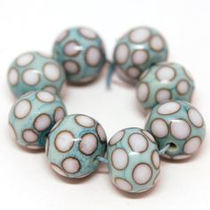 Ivory Polka Dots on Turquoise   Handmade Lampwork Glass by Lutrick, $24.00 Love theses beads