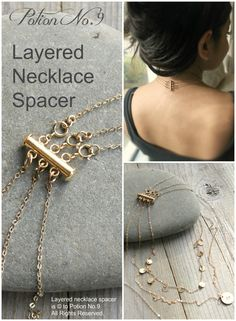 Layered necklace spacer clasp gold silver or Rose by potionumber9