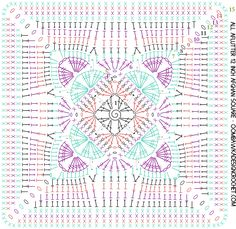 Crochet Square Patterns All Aflutter 12 Inch Afghan Square Designed by Oombawka Design 2017 - All Aflutter Afghan Square - Oombawka Design Crochet Mandala Pattern, Crochet Square Patterns, Granny Square Crochet Pattern, Crochet Diagram, Crochet Chart, Crochet Granny, Motifs Granny Square, Crochet Squares Afghan, Granny Squares