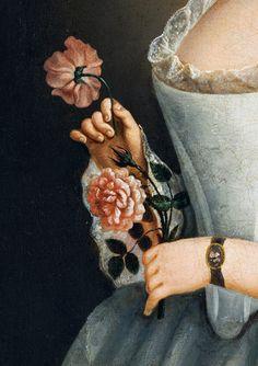 gabrielsmirror.tumblr ✿ art peinture détail femme en fleur (painting detail woman with flower) palette noire, black palett
