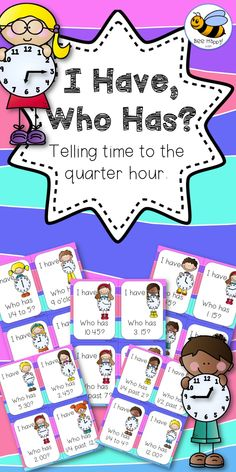 A simple card game that everyone loves. I Have, Who Has? is quick to play and great for reviewing skills. This game reviews time to the quarter hour, using the different language forms: quarter to seven, six forty-five; quarter past two, two fifteen; half past twelve, twelve thirty and four o'clock. $