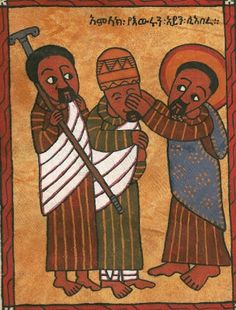 Jesus Heals the Blind Man Unknown Ethiopian Artist Tempera/Acrylic on leather x 16 cm. Religious Images, Religious Icons, Religious Art, Catholic Art, African Jesus, Holly Pictures, Jesus Heals, Religious Paintings, Jesus Art