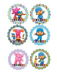 Kit Imprimible y editable de Pocoyo Mesa de por AhastariDesigns Push Pop Candy, Page Decoration, Chocolate Coins, White Iphone, Candy Bags, Party Kit, Editable, Diy Kits, 3rd Birthday