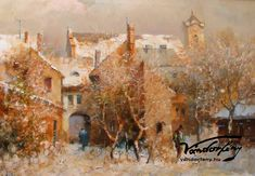 Mág Tamás: Váci udvar télen - Vándorfény Galéria Painting, Travel, Viajes, Painting Art, Paintings, Destinations, Traveling, Trips, Painted Canvas