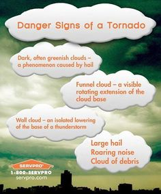 Tornadoes are in the forecast for today, be safe and watch for these warning signs!  Remember, #Servpro can handle full service storm restoration and repairs and we work with insurance companies nationwide.  Call us 24/7 at 336-379-1772 or 1-800-SERVPRO.