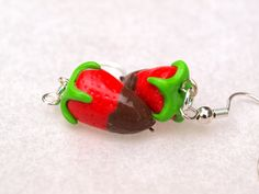 Fresh strawberries dipped in chocolate earrings in polymer clay/fimo