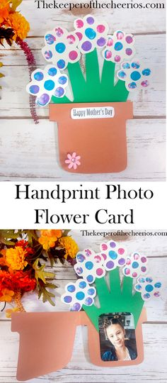 Handprint Flower Photo Keepsake Card, spring craft, Easter craft, Mothers day craft