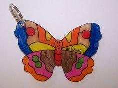 porte-clefs papillon en plastique fou